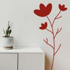 Vinilo pared tallo floral