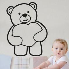 Vinilo infantil oso corazón
