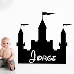 Vinilo infantil castillo nombre personalizado