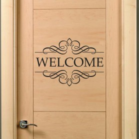 Vinilo decorativo puerta Welcome
