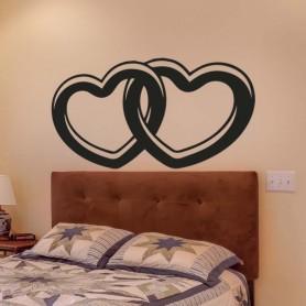 Vinilo cabecero cama alianza corazones