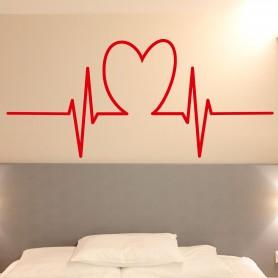 Vinilo pared cardiograma corazón