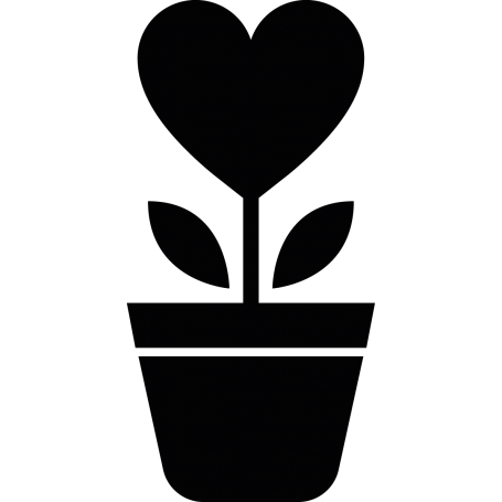 Vinilo maceta flor corazón